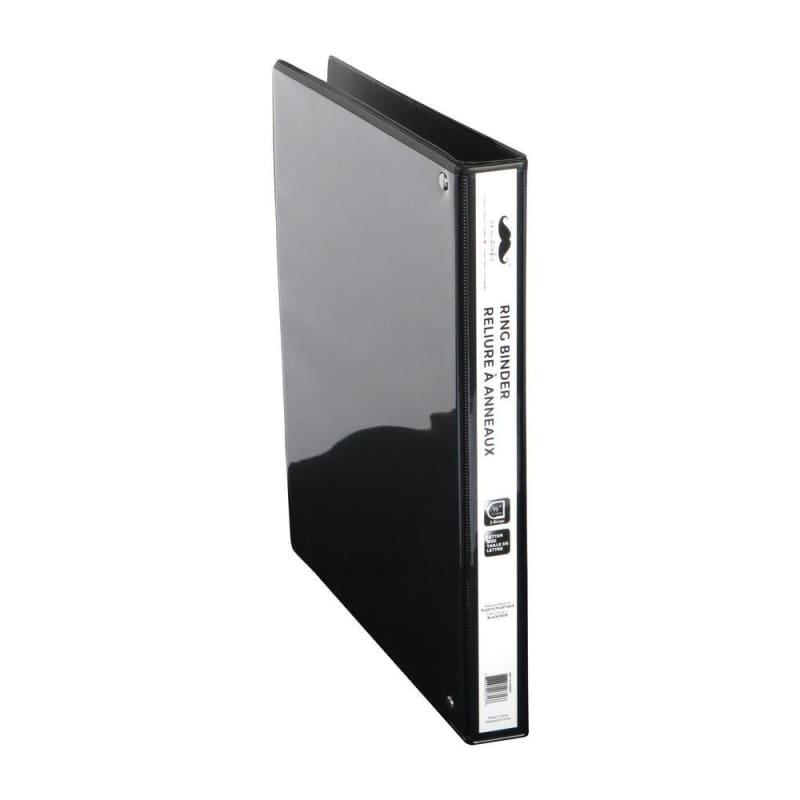 "1/2"" D-Ring Binder, 3 Rings, Letter Size, Black - Moustache®"