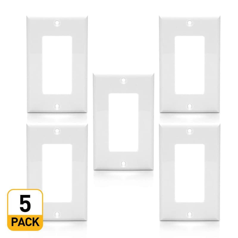 1-Gang Plastic Decora Wall Plate, White - PrimeCables®
