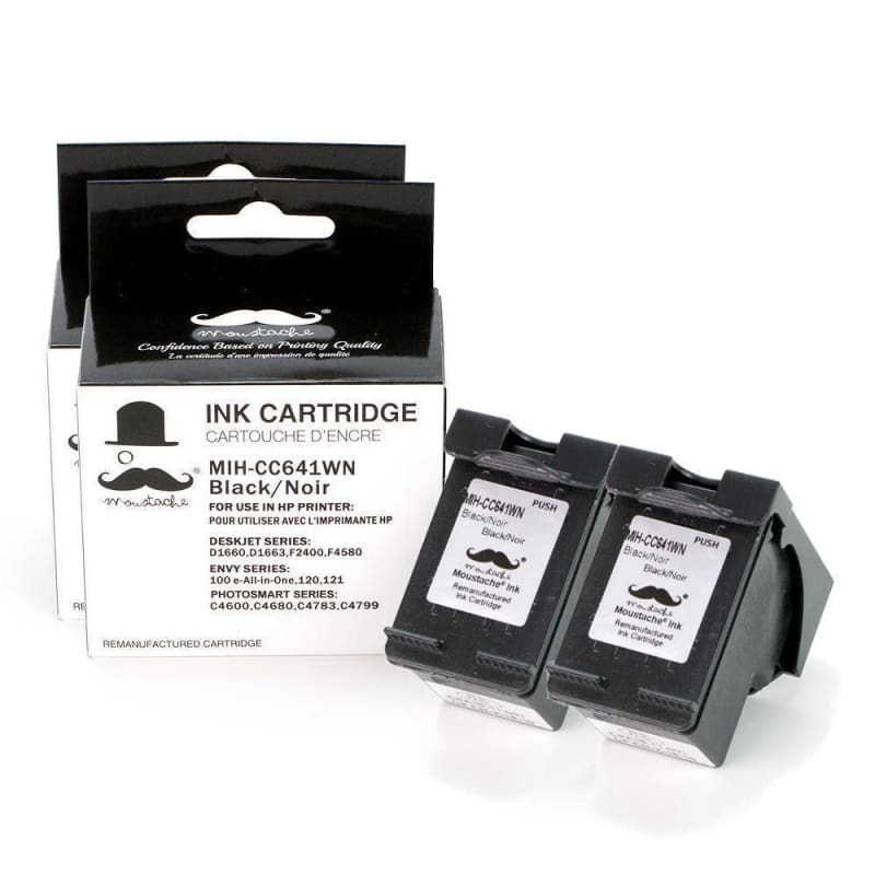 Remanufactured HP 60XL CC641WN Black Ink Cartridge High Yield - Moustache®
