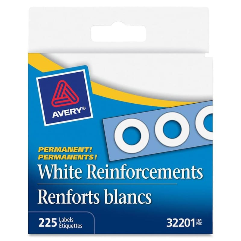 "Avery® White Self-Adhesive Reinforcement Labels, 1/4"" Round, 225 labels per pack"