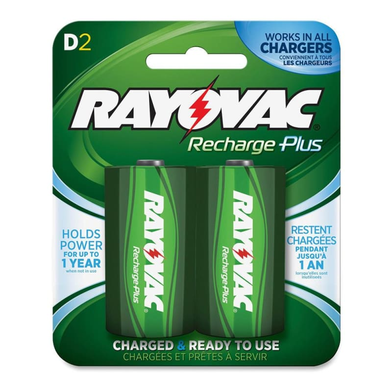 Rayovac D Rechargeable NiMH Batteries, 2-Pack