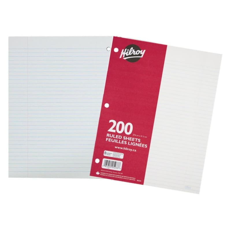 "Hilroy® 7mm Ruled Loose Leaf Sheets, 10.87"" x 8.37"", 200 Pages, 3-Hole Punched"