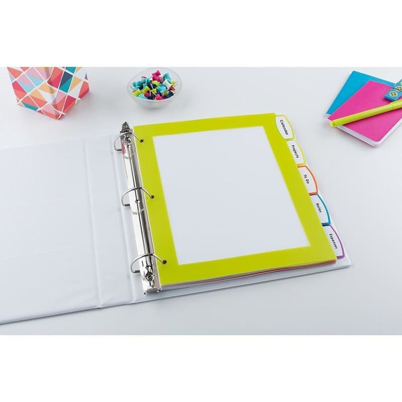 "Avery® Big Tab™ UltraLast™ Plastic Dividers, 8.5"" x 11"", Multicolour, 5 Tabs/Set (24900)"