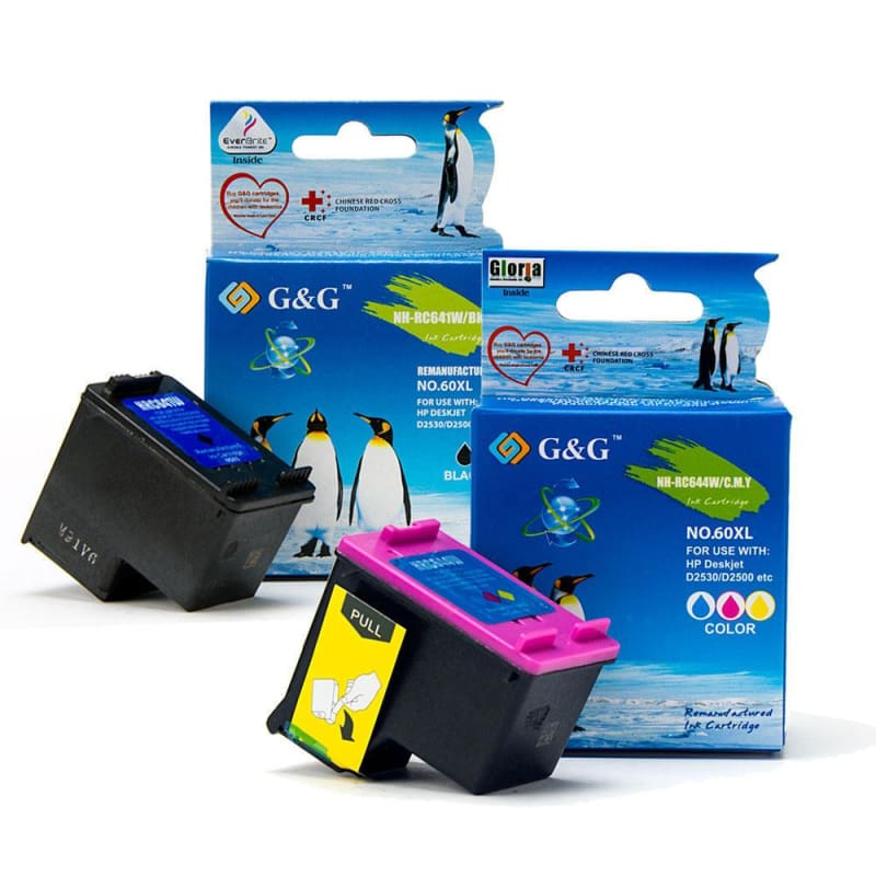Remanufactured HP 60XL CC641WN CC644WN Black and Color Ink Cartridge Combo High Yield - G&G™