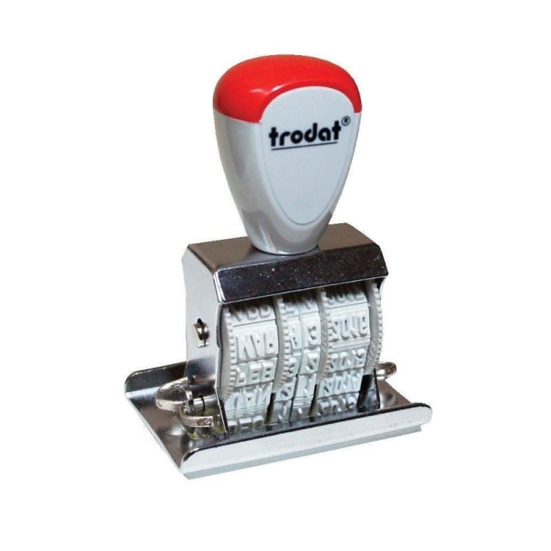Trodat 2210 Manual Date Stamp with text, 12 Year date band, 4mm Character Size