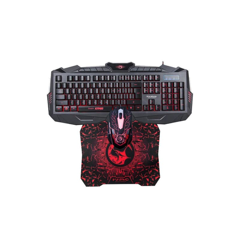 MARVO KM400 USB Gaming Keyboard,LED Mouse and Mouse Pad Combo (3 in 1 kit)