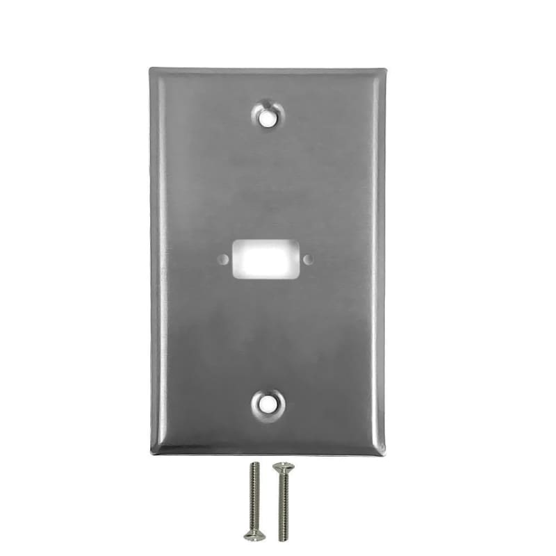 1-Port DB9 Size Cutout Stainless Steel Wall Plate