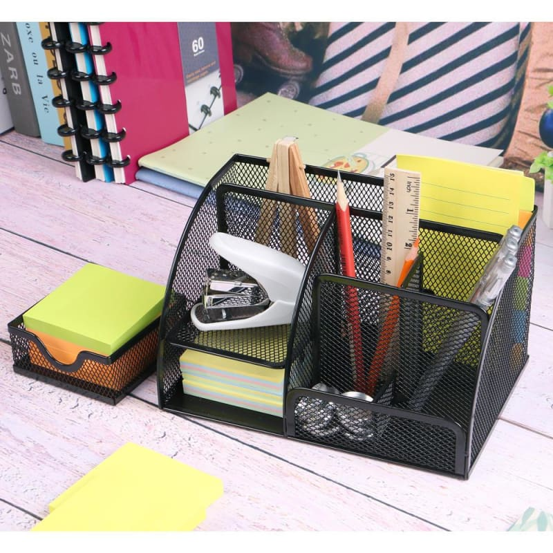 7 Section Metal Mesh Office Desktop Organizer,  Black - Moustache®