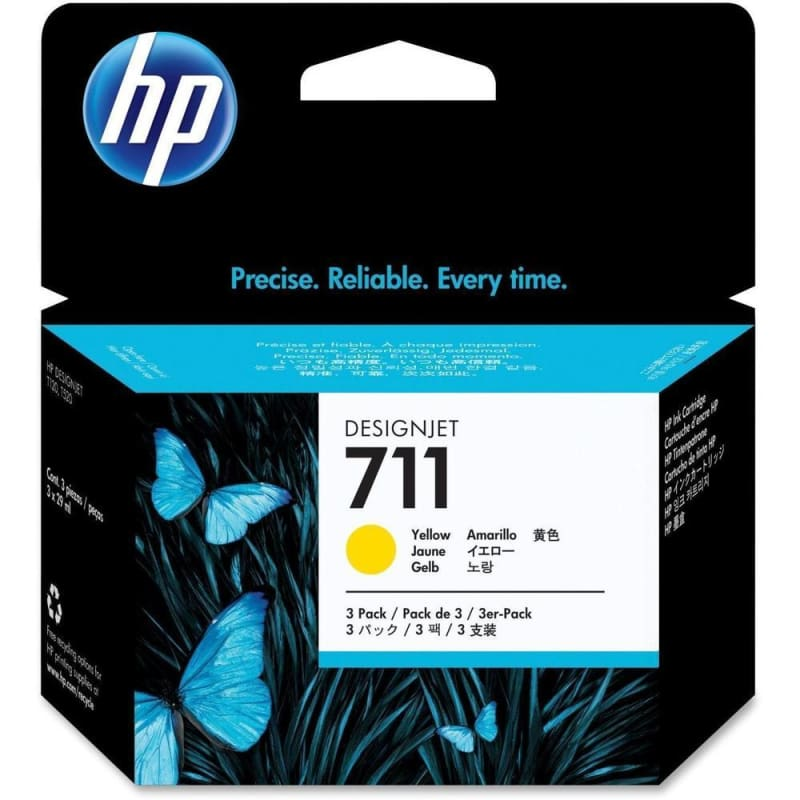 HP 711 CZ136A Original Yellow Ink Cartridge - 3/Pack