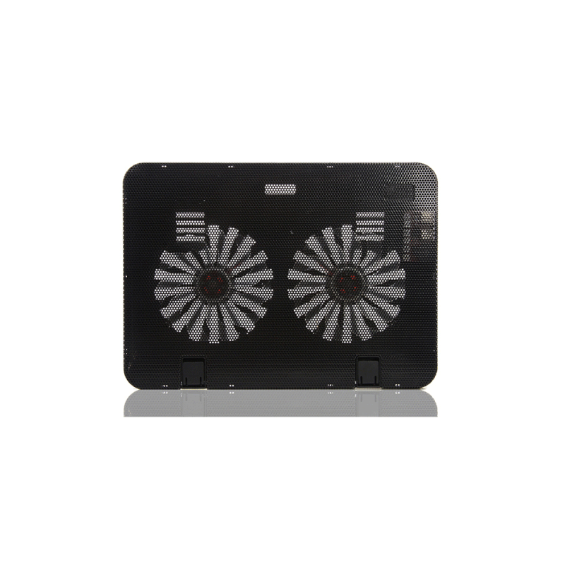 Ultra-Slim USB Laptop Notebook Cooling Pad w/ 2 Quiet Fans (140mm dual fan), Adjustable Stand