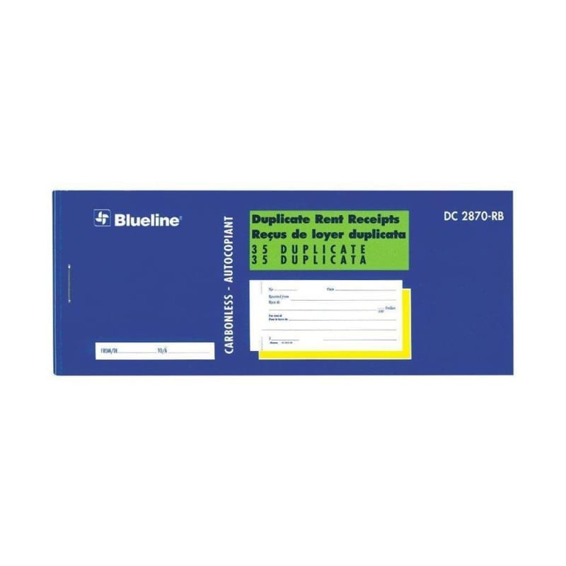 Blueline® Duplicates Rent Receipt Book Carbonless Copy - Bilingual (DC2870RB) 624593