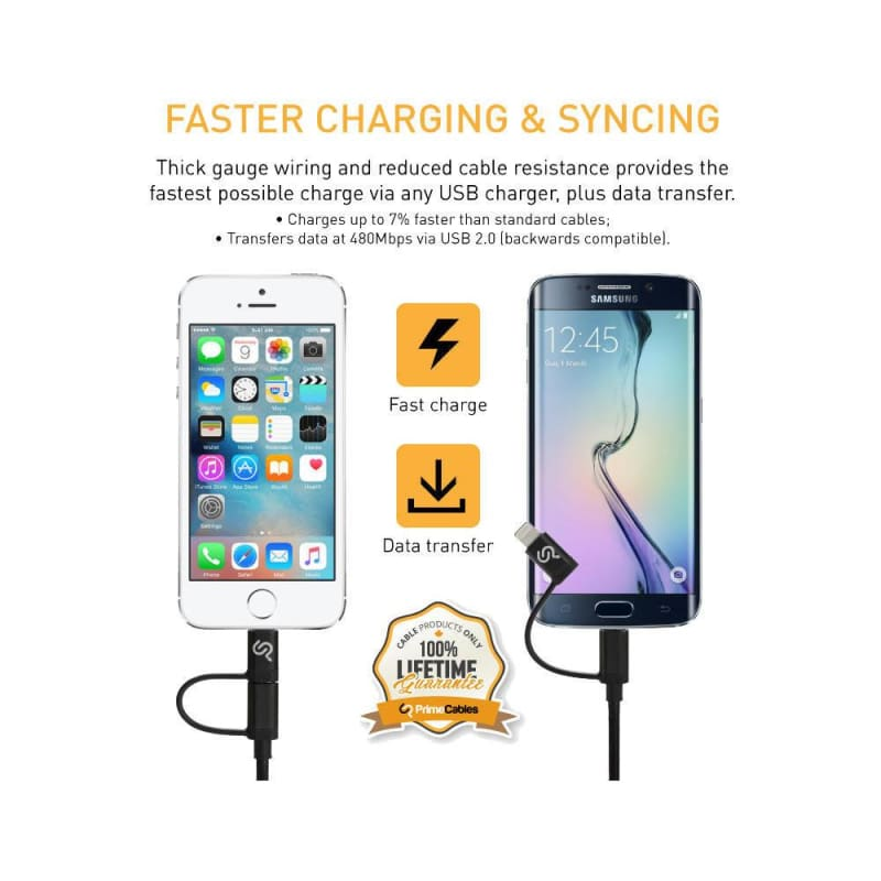 2-in-1 Certified Lightning or Micro USB to USB Cable for iPhone iPad and Android, 1m - PrimeCable®