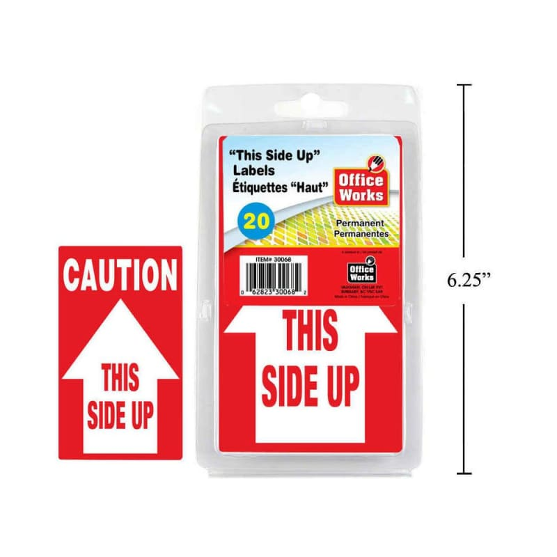 "O.WKs. ""This Side Up"" Labels, 20pcs 2.75 x 4.5"", clam pack"