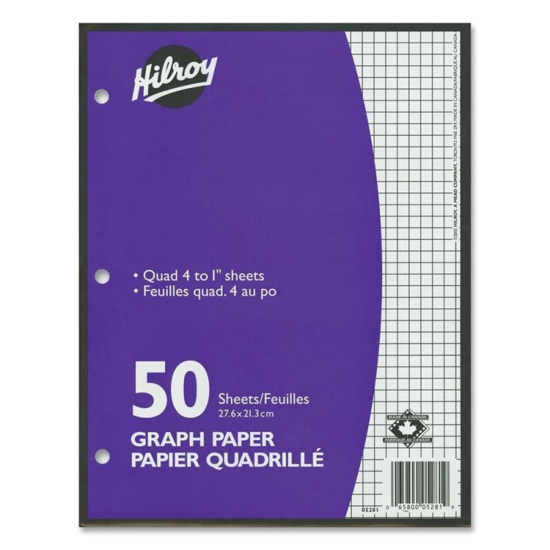 "Hilroy® Quad 4 to 1"" Quad ruled Loose Leaf Graph Paper, 10.87"" x 8.37"", 50 Sheets 222711"