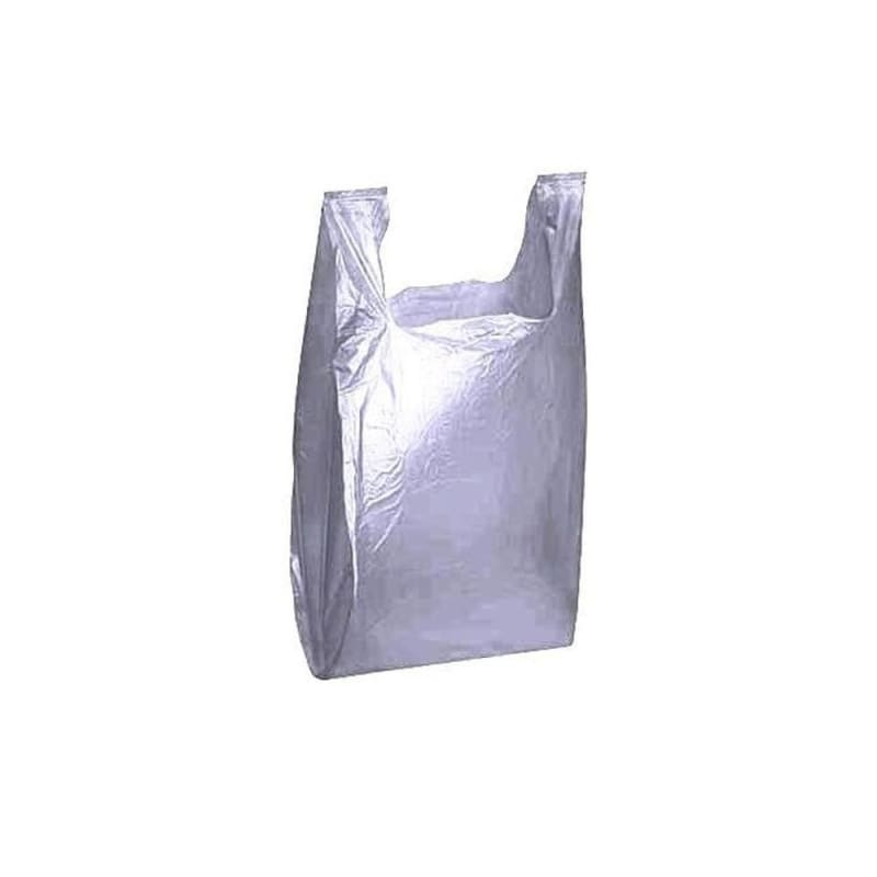 "Gray Low density T-Shirt Bag, 12"" x 7"" x 21"", 1000/Pack"