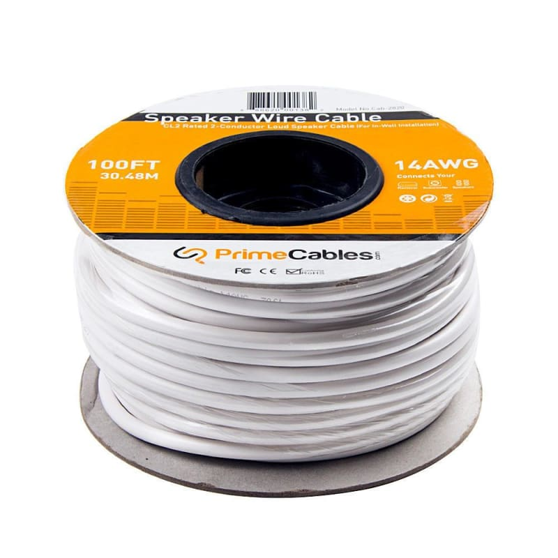 100ft Speaker Wire 14AWG CL2 Rated 2-Conductor Cable (For In-Wall Installation) - PrimeCables®
