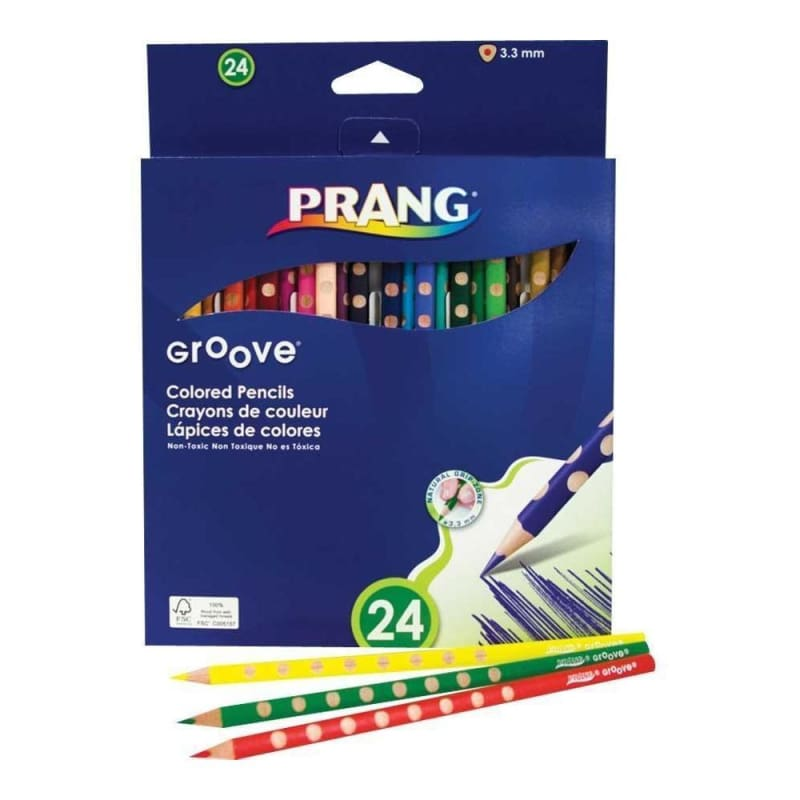 Prang & Dixon Groove 3.3mm Coloured Pencils Set of 24 Assorted Colours (28124) 275883