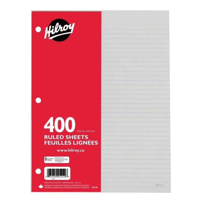 "Hilroy Ruled Loose Leaf refill Sheets,3 hole-punched. 8-1/2 x 11"" - 400/package"