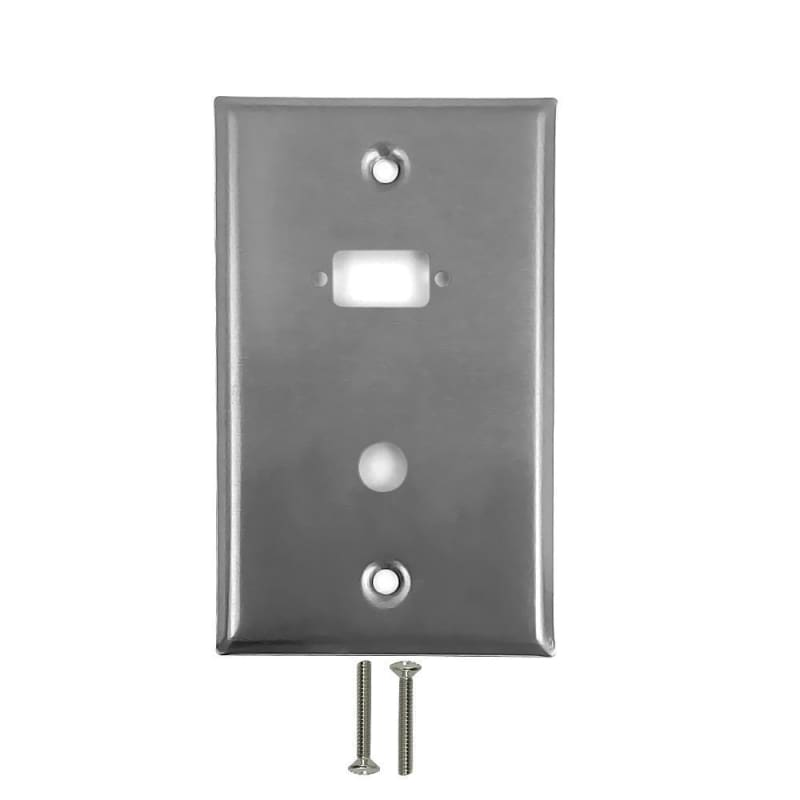 1-Port DB9 Size Cutout + 3/8 Inch Hole Stainless Steel Wall Plate