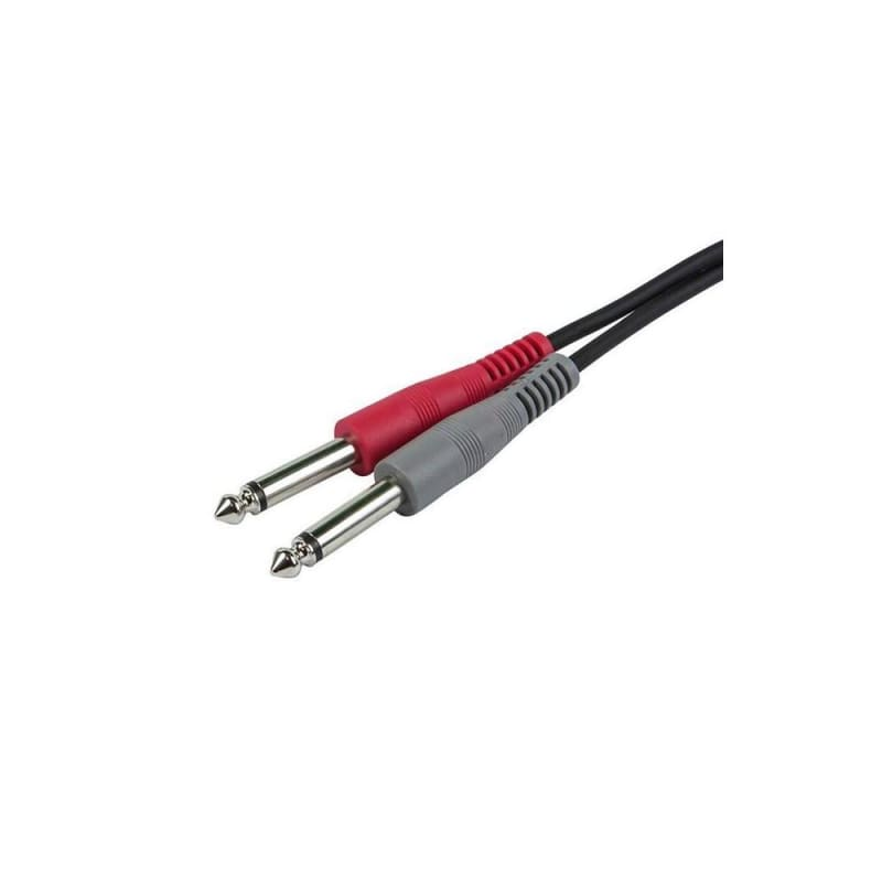 "1/8"" TRS male to two 1/4"" TS male cable (2 Lengths available) - Monoprice"