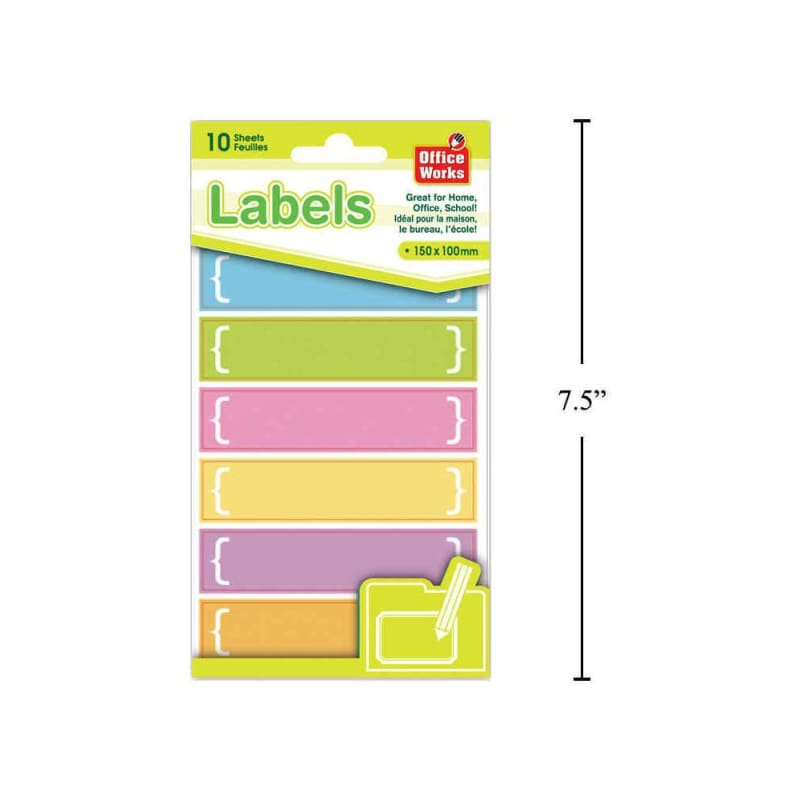 O.WKs. Multi-Purpose Labels, 10 Sheets, 6 labels/sheet, 150 x 100mm