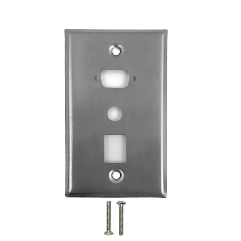 1-Port DB9 Size Cutout + 3/8 Inch Hole + Keystone Hole Stainless Steel Wall Plate