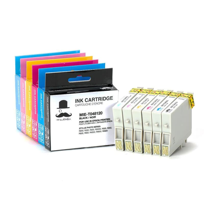 Compatible Epson T048 T0481 - T0486 Ink Cartridge Combo BK/C/M/Y/LC/LM  - Moustache®