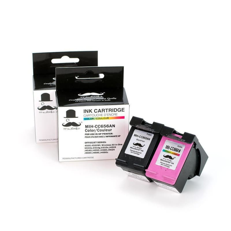 Remanufactured HP 901 CC653AN CC656AN Black and Color Ink cartridge Combo - Moustache®