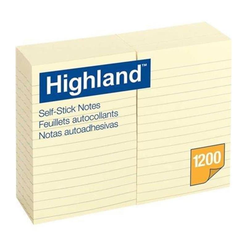 3M Highland™ Self-Sticking Notes, 4 x 6'', Ruled, 12/Pack 108373