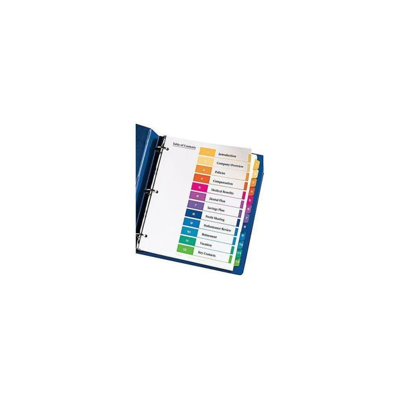Avery® 11141 Ready Index Coloured Table of Contents Dividers 396200