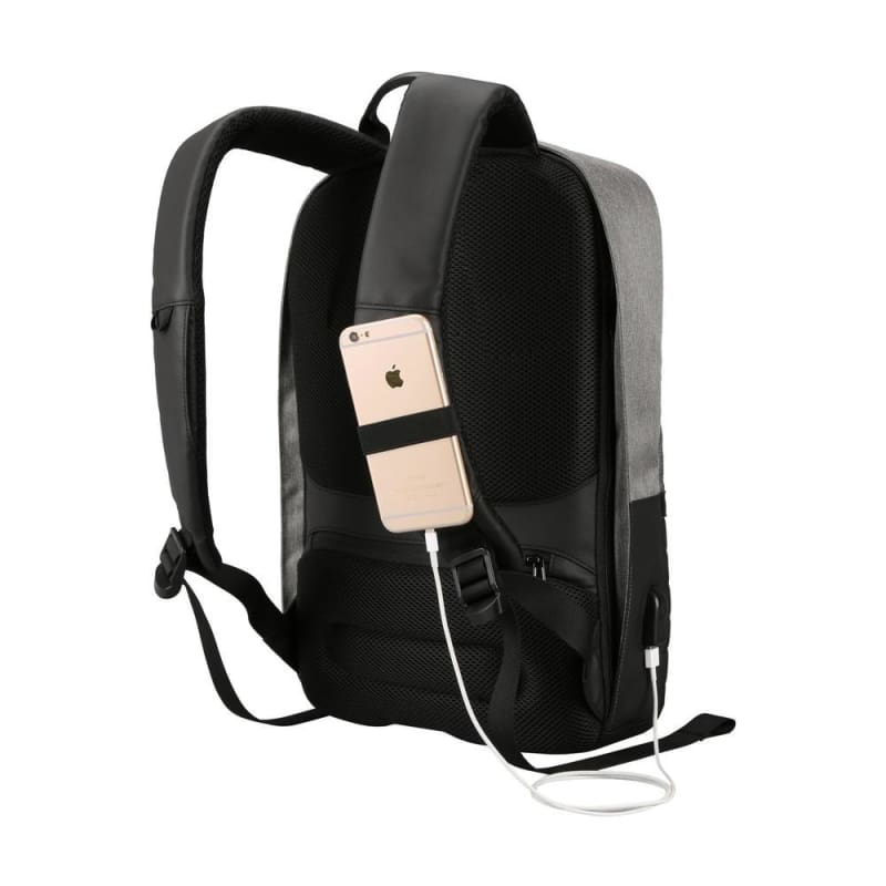 Anti-theft Waterproof Business Laptop Backpack with USB Charging Port, Grey - Moustache®