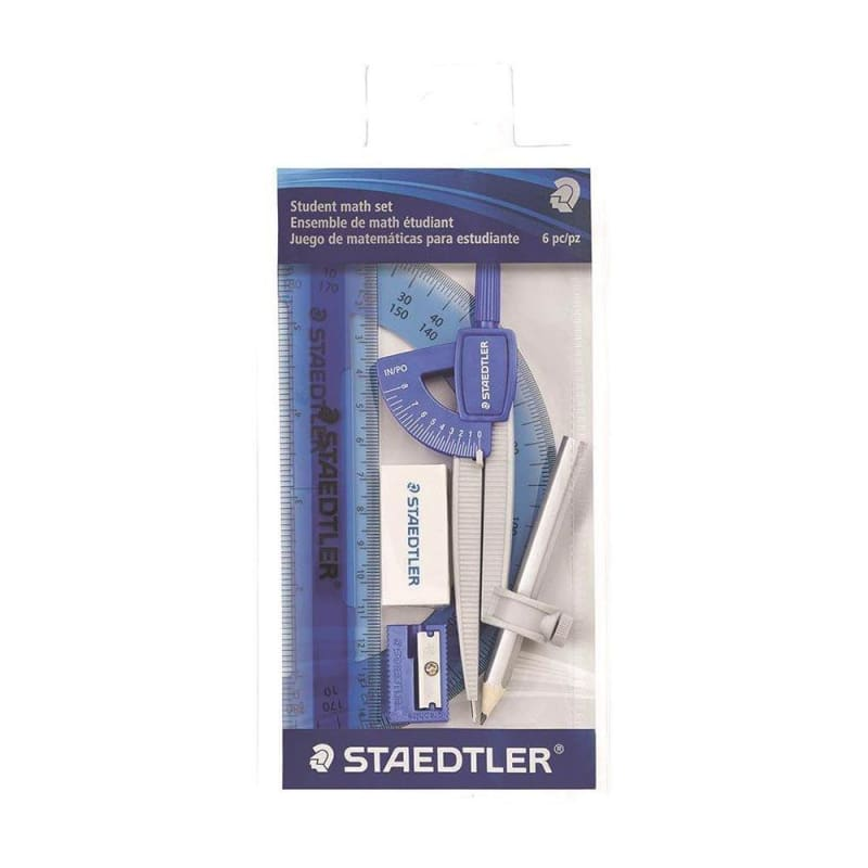 Staedtler® Student Math Set, 6 Piece Zippered Pouch (557-50 WP6) , Assorted colours 363853