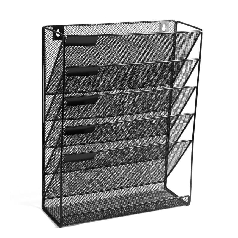 5 Tray Compartments Mesh Wall Mounted File Holder, Black - Moustache®