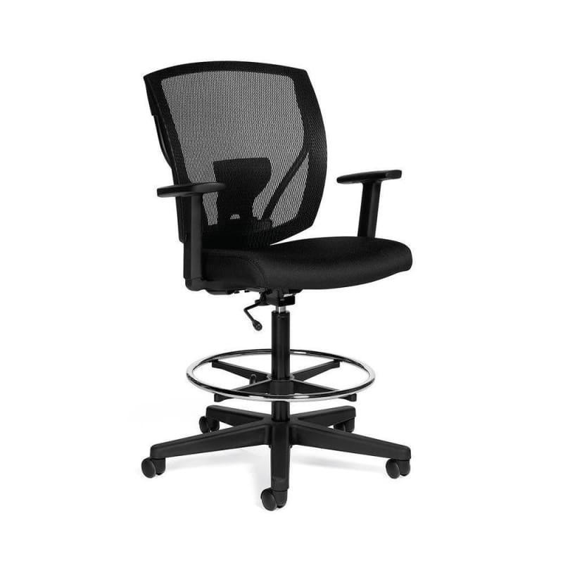 Offices to Go™ Ibex™ Mesh Drafting Chair, Black