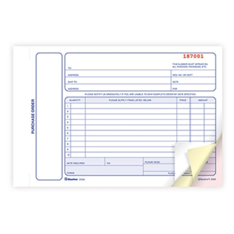 Blueline® Purchase Orders Book Carbonless Numbered Forms
