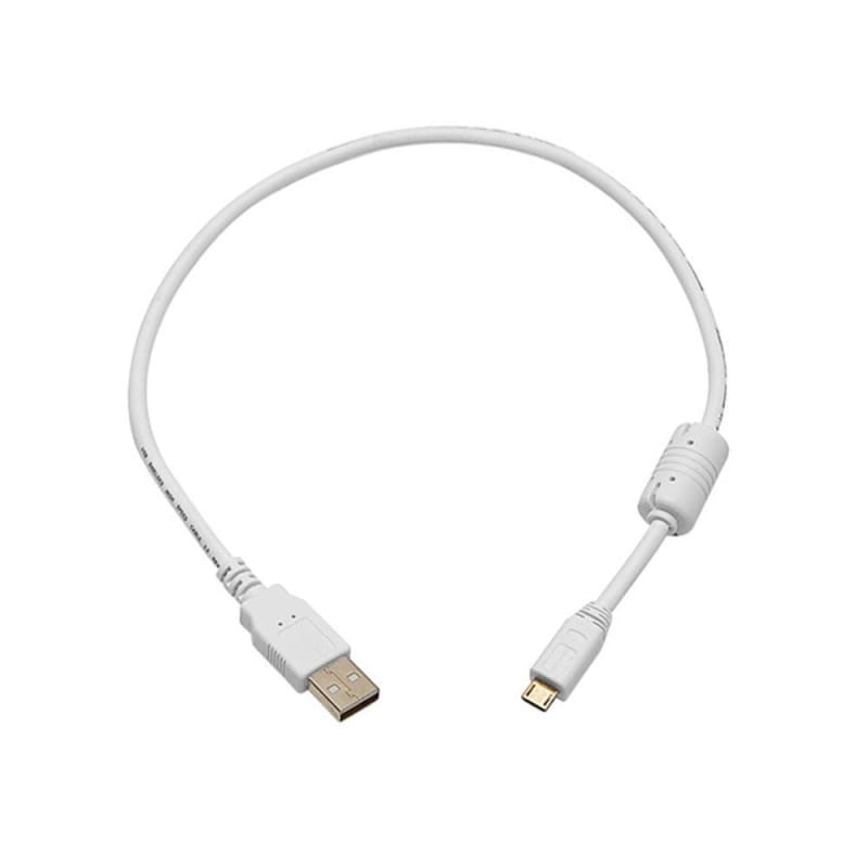 USB 2.0 A Male to Micro 5pin Male 28/24AWG Cable w/Ferrite Core (Gold Plated) - White - Monoprice®