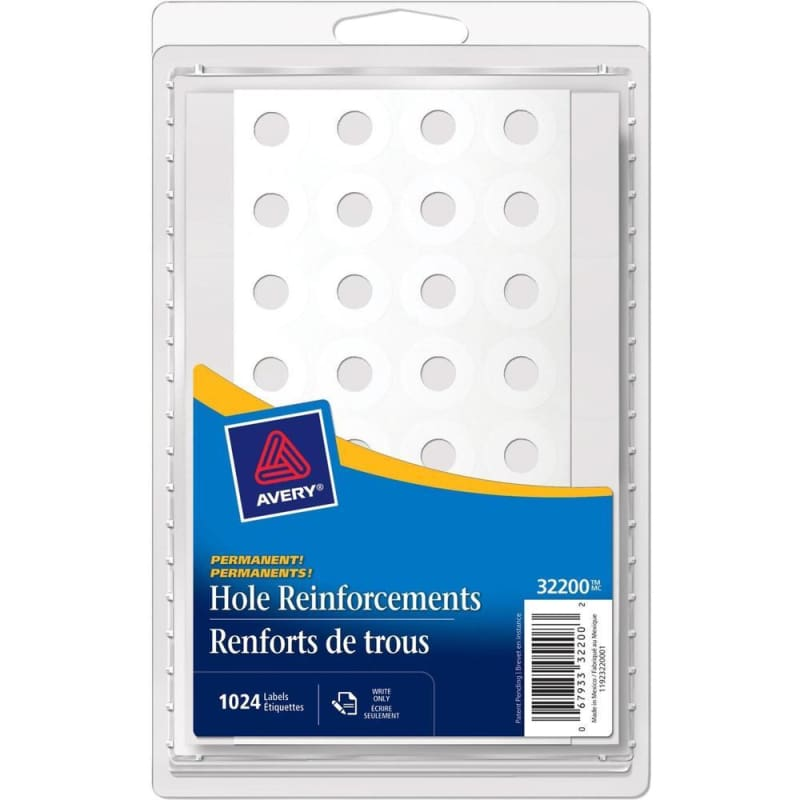 Avery® 32200 Hole Reinforcement Labels, Sheets, 1024 labels per pack