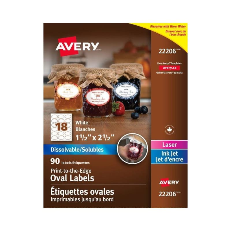 "Avery® Dissolvable White Labels, 1-1/2 x 2-1/2"" Oval, Package of 90"