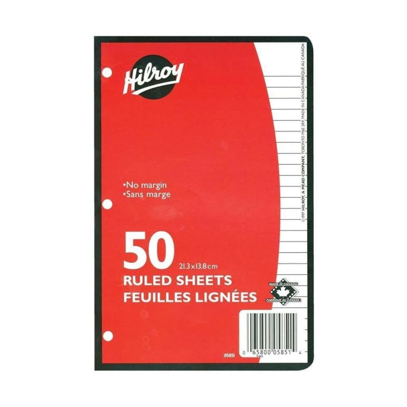 Hilroy Refill Paper, College Ruled, 3-Hole Punched, 8-3/8 X 5-7/16-Inch, 50/pack
