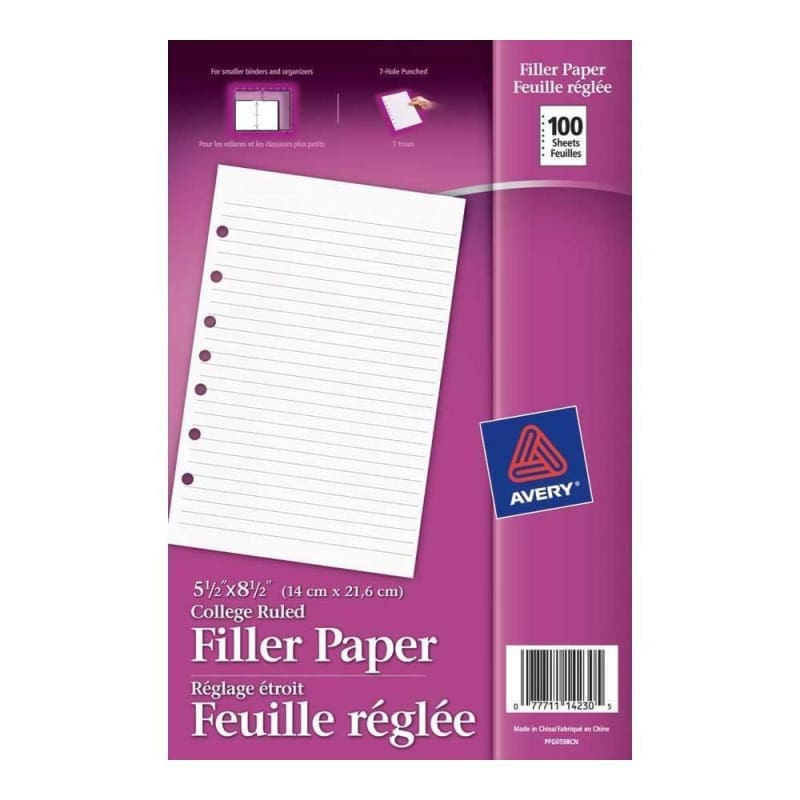 "College Refill Paper, Ruled, 5-1/2 x 8-1/2"" ,100 sheets 190207"