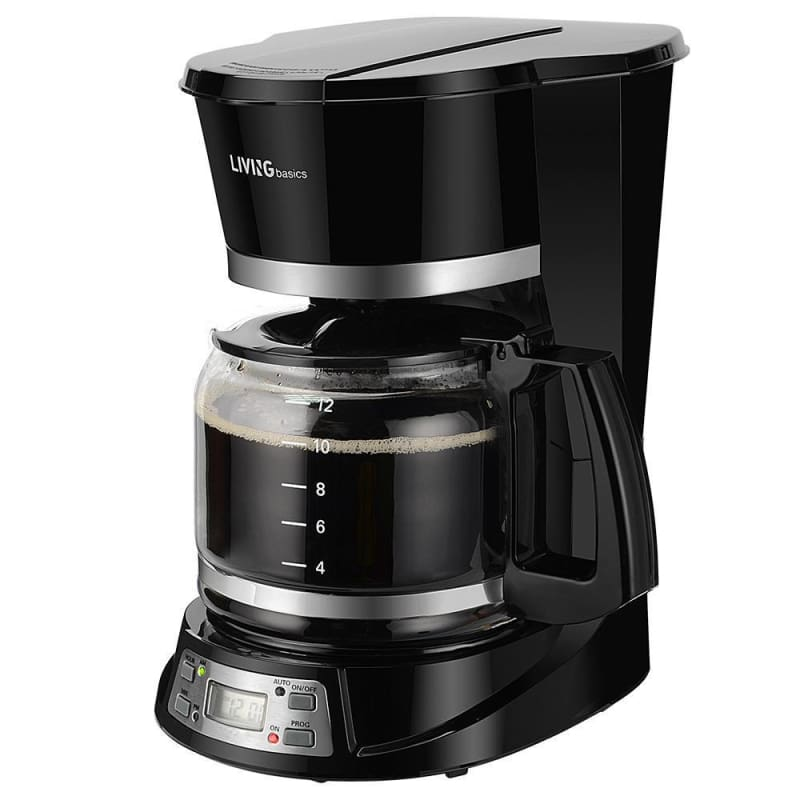 12-Cup Coffee Maker Programmable, With 1.8L Carafe Pot, Black - LIVINGbasics™