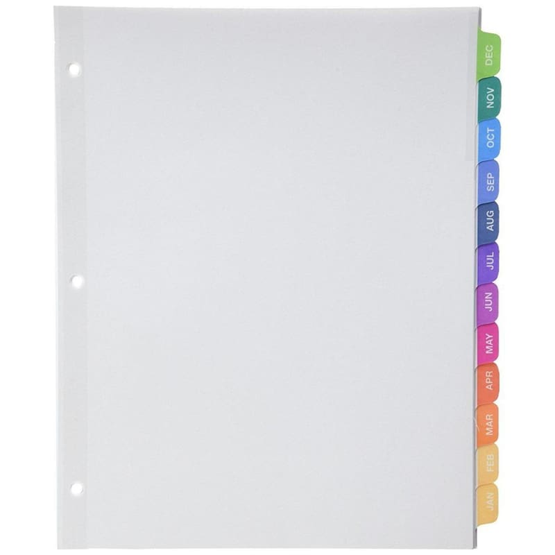 Avery® Ready Index® Table of Content Dividers, Jan-Dec, Multi-color (11127) 396077