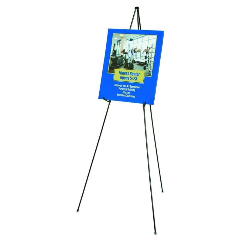 "Quartet® Instant folding easel, weight 3 lb, hold up to 5 lb, 63"" full height, 15"" folded, Black"