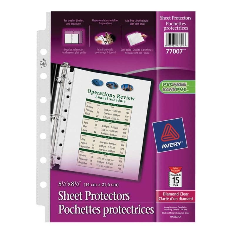 "Avery 5-1/2 x 8-1/2"" Sheet Protector, clear, 7-hole punched, 15 Sheet Protectors Per Pack"