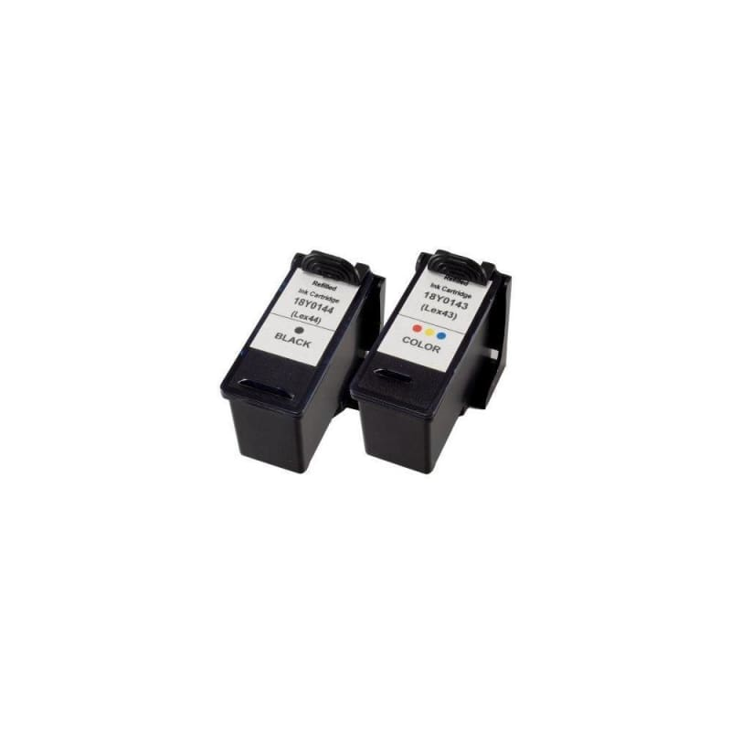 Remanufactured Lexmark 43XL 44XL Black and Color Ink Cartridge Combo