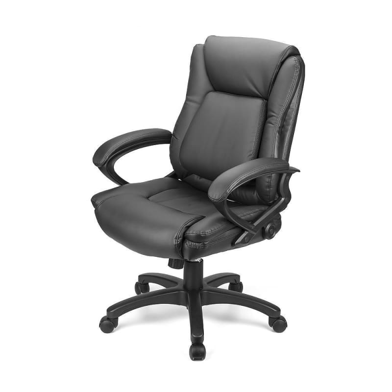 Ergonomic Faux-Leather Mid Back Office Chair with Adjustable Lumbar Support - Moustache®