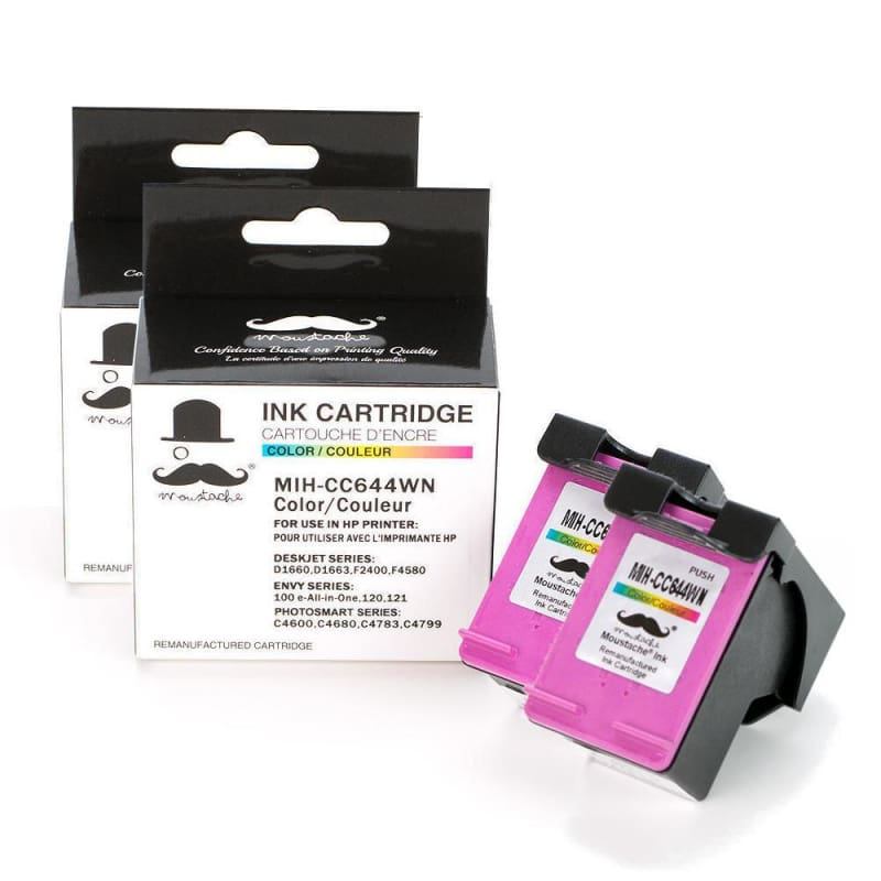 Remanufactured HP 60XL CC644WN Color Ink Cartridge High Yield - Moustache®