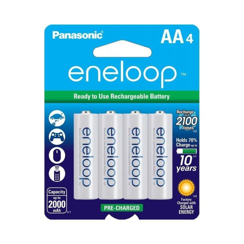Panasonic Eneloop 2100 cycle,4-Pack AA Ni-MH Pre-charged Rechargeable Batteries