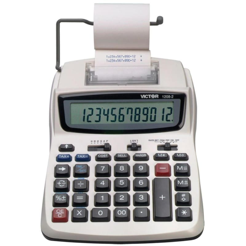 Victor® 1208-2 12-Digit Compact Commercial Printing Calculator 610915