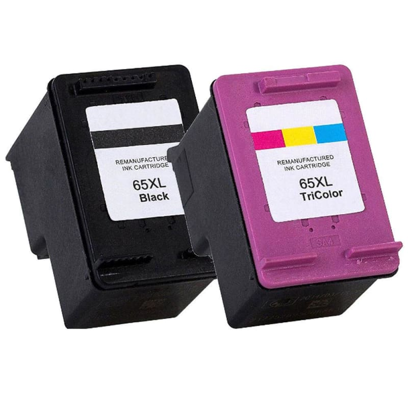 Remanufactured HP 65XL Black and Color Ink Cartridge Combo - Moustache®